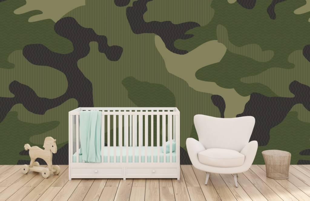 Children's wallpaper - Green camouflage - Children's room 6