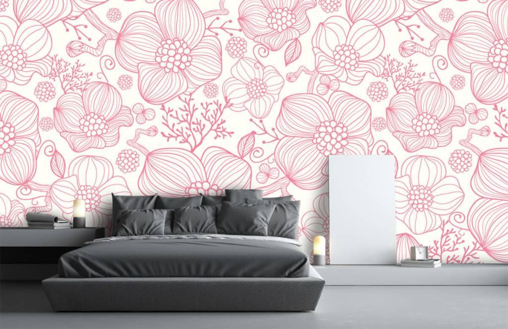 Patterns for Kidsroom - Large pink flowers - Bedroom 2