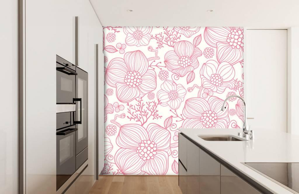 Patterns for Kidsroom - Large pink flowers - Bedroom 3