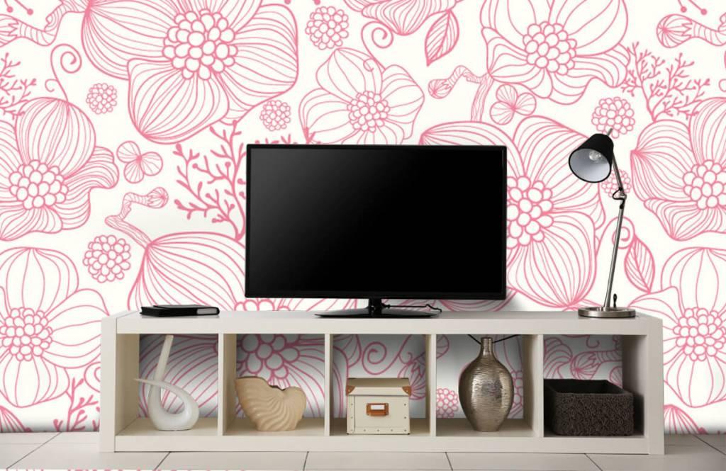 Patterns for Kidsroom - Large pink flowers - Bedroom 4