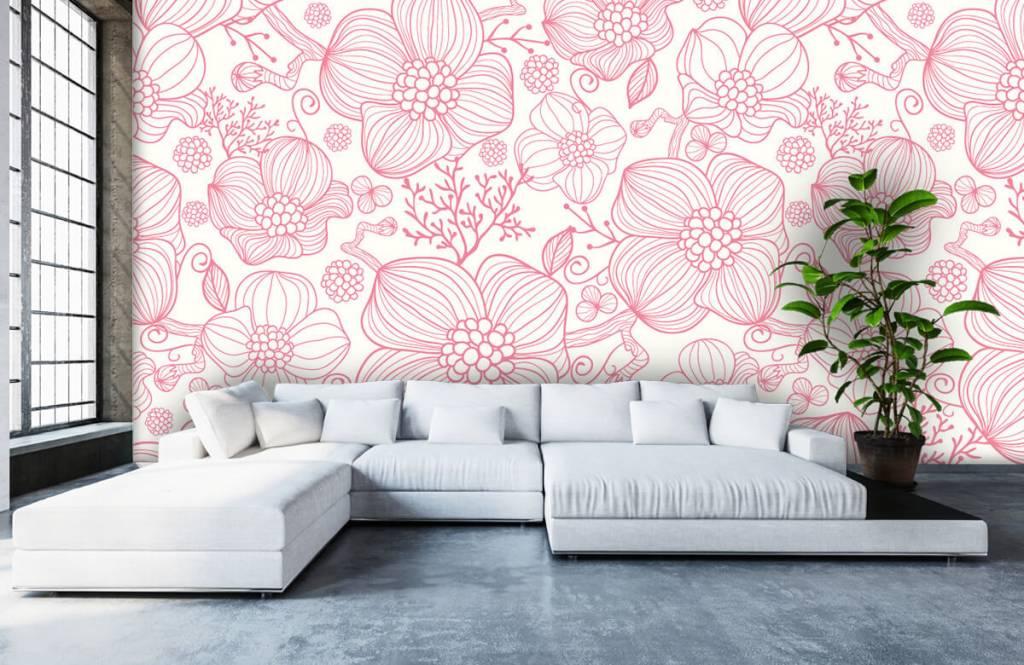 Patterns for Kidsroom - Large pink flowers - Bedroom 5