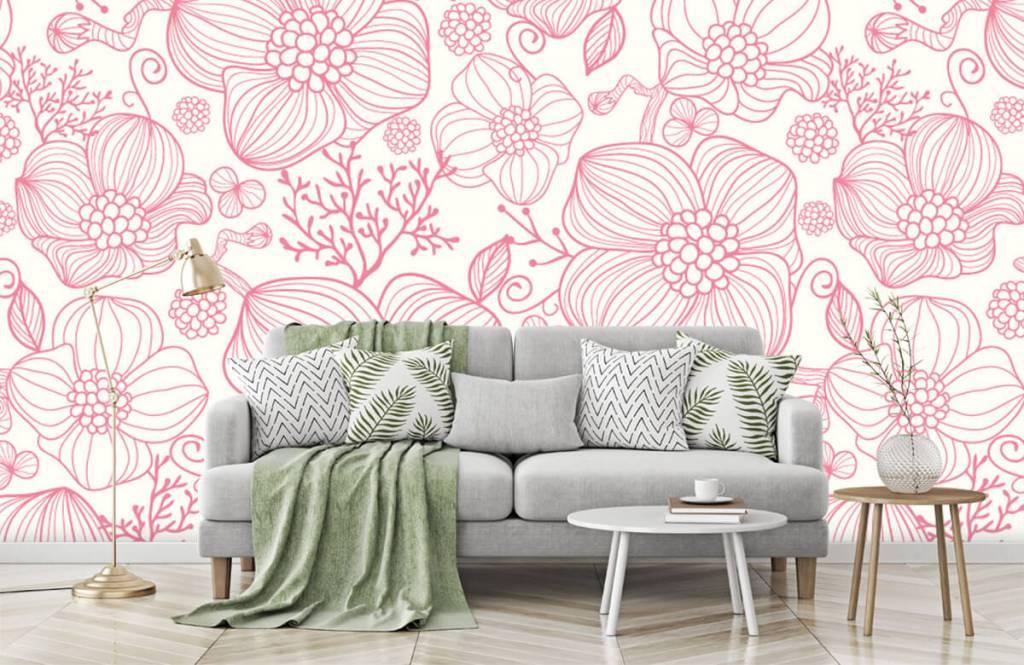 Patterns for Kidsroom - Large pink flowers - Bedroom 7