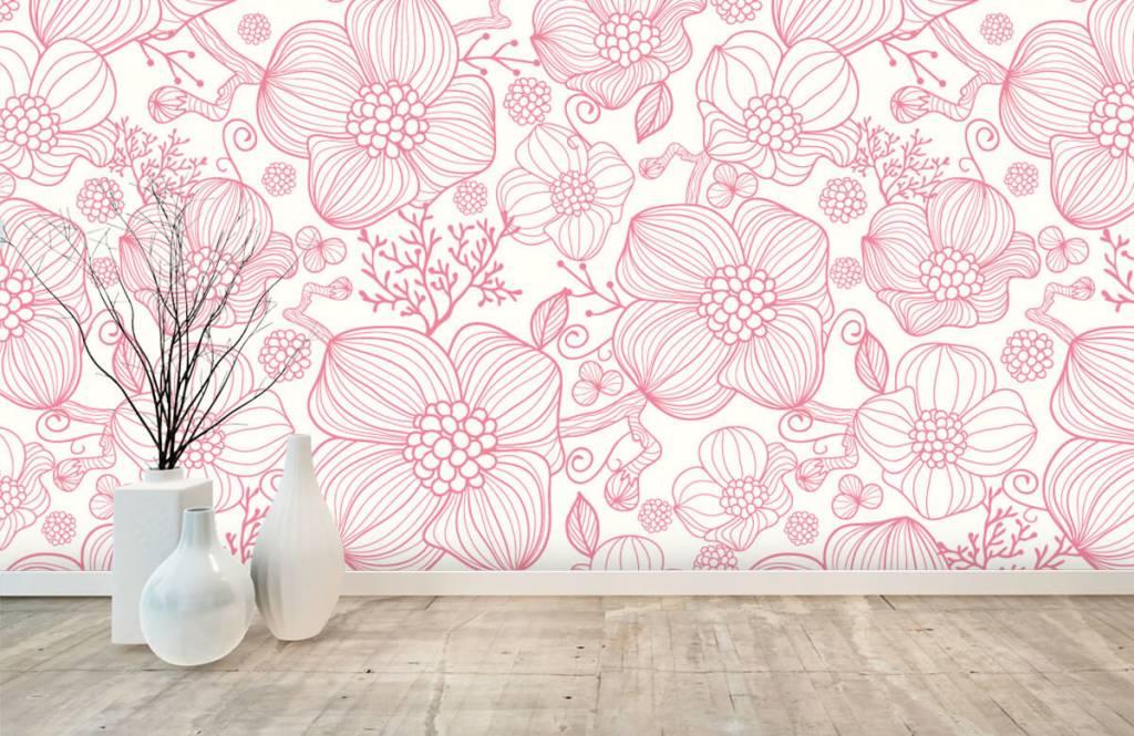 Patterns for Kidsroom - Large pink flowers - Bedroom 8
