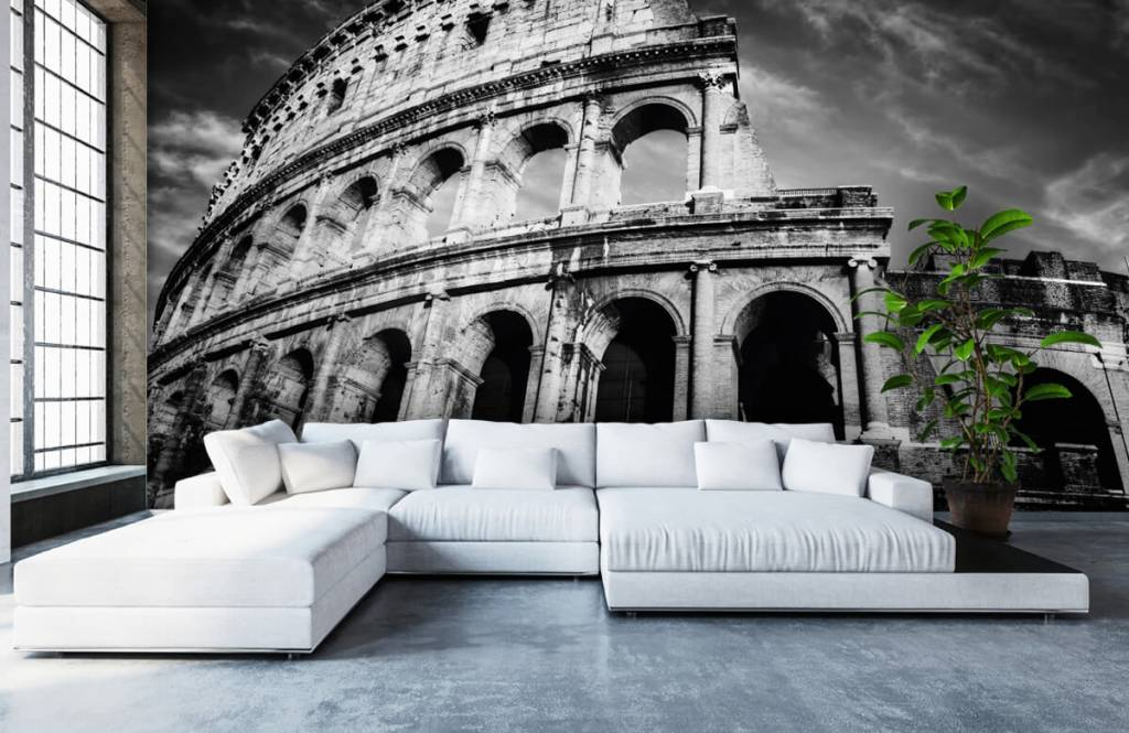 Black and white wallpaper - Colosseum in Rome - Teenage room 1