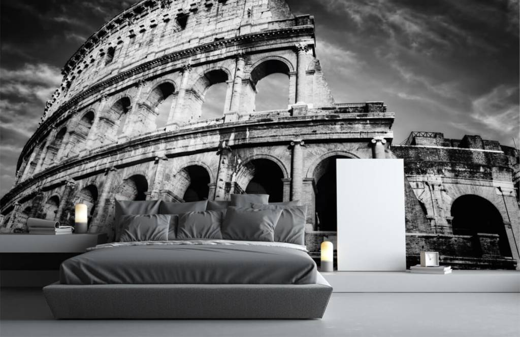 Black and white wallpaper - Colosseum in Rome - Teenage room 4