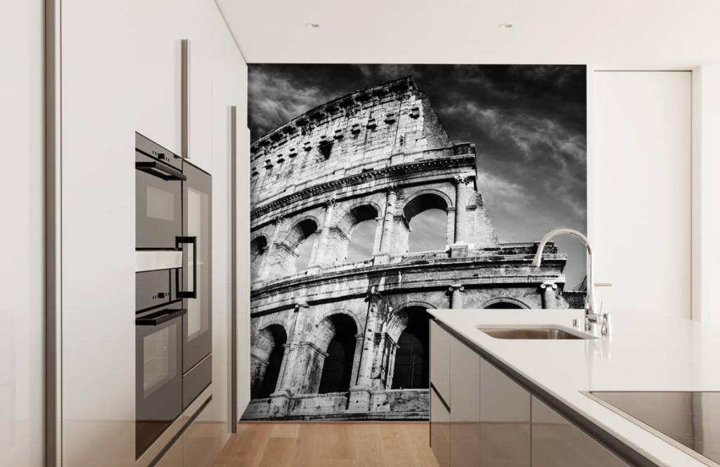 Black and white wallpaper - Colosseum in Rome - Teenage room 5