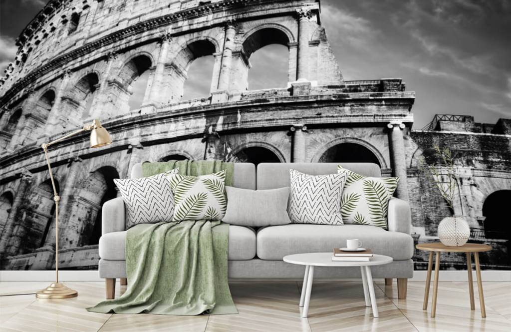 Black and white wallpaper - Colosseum in Rome - Teenage room 7