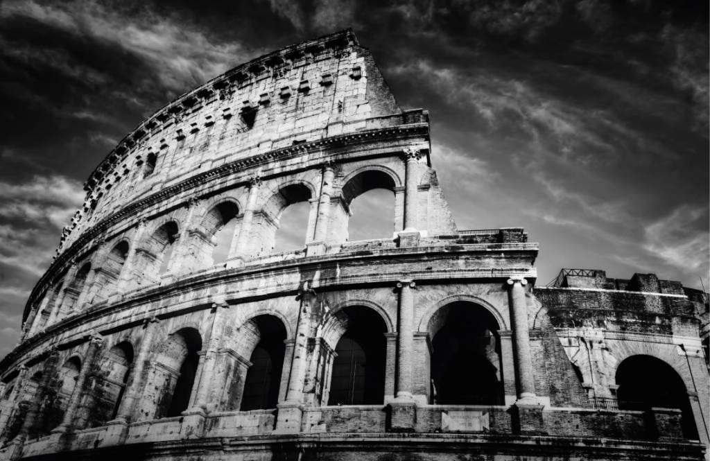 Black and white wallpaper - Colosseum in Rome - Teenage room 8