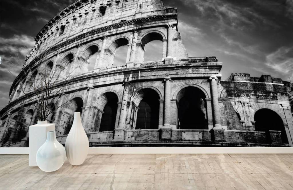 Black and white wallpaper - Colosseum in Rome - Teenage room 9