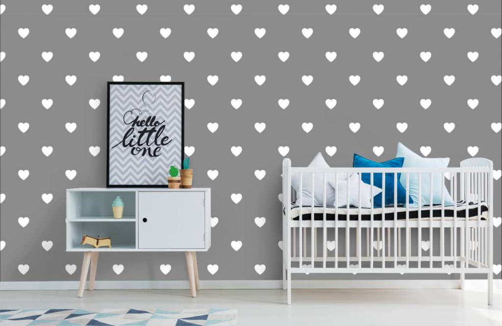 Baby wallpaper - Small white hearts - Baby room 1