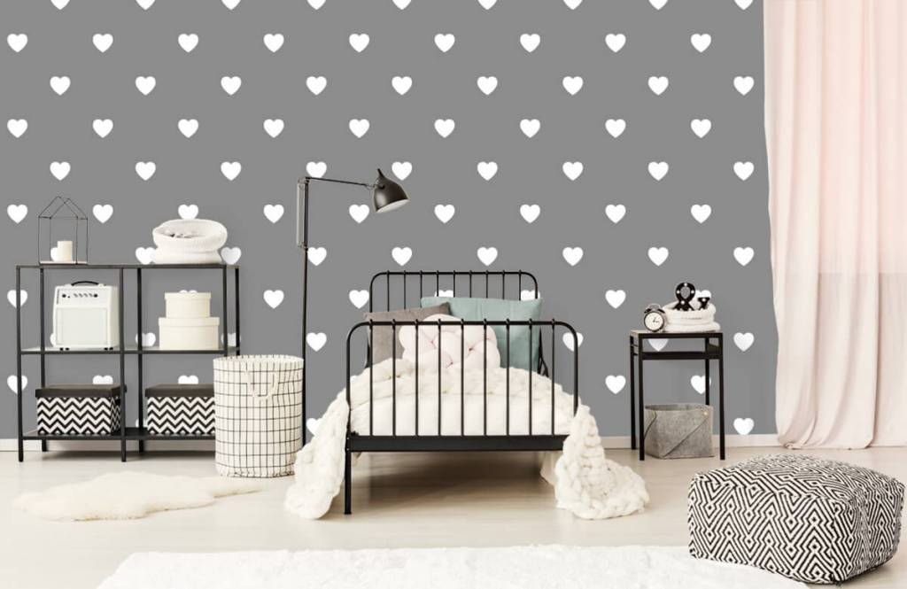Baby wallpaper - Small white hearts - Baby room 2