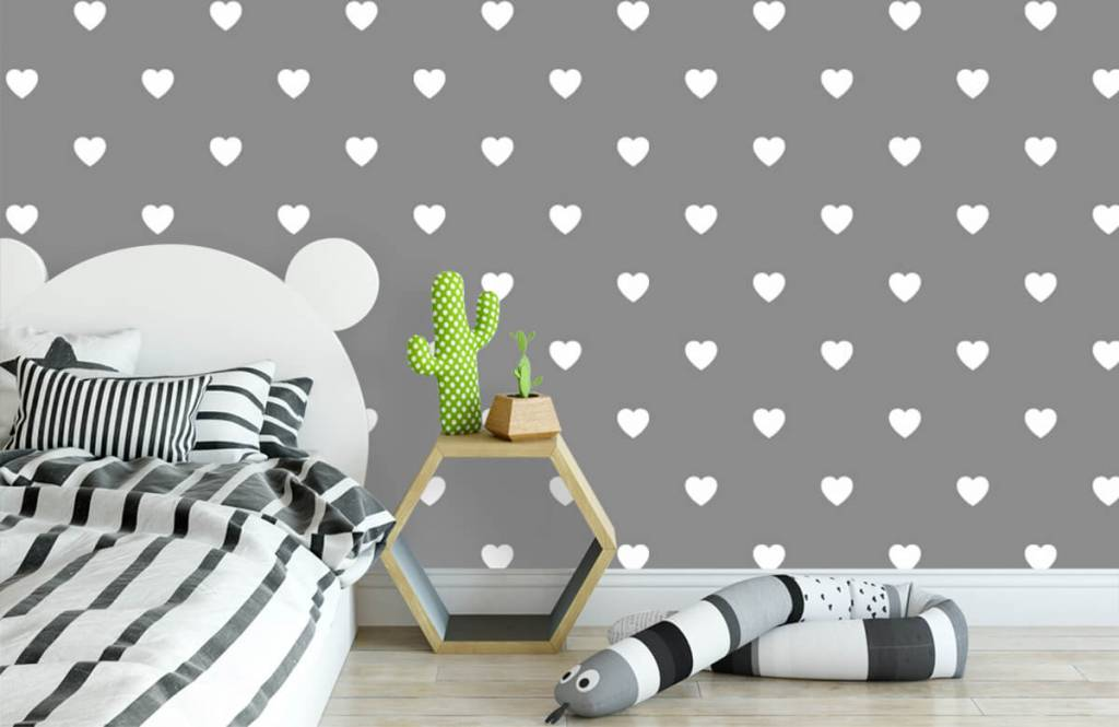 Baby wallpaper - Small white hearts - Baby room 3