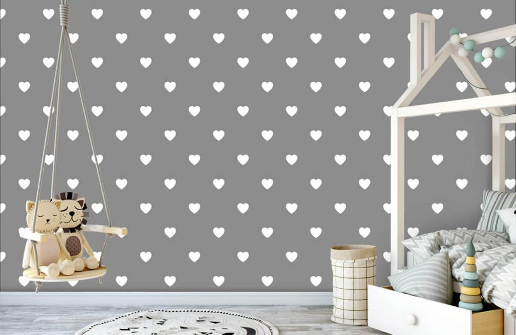 Baby wallpaper - Small white hearts - Baby room 4