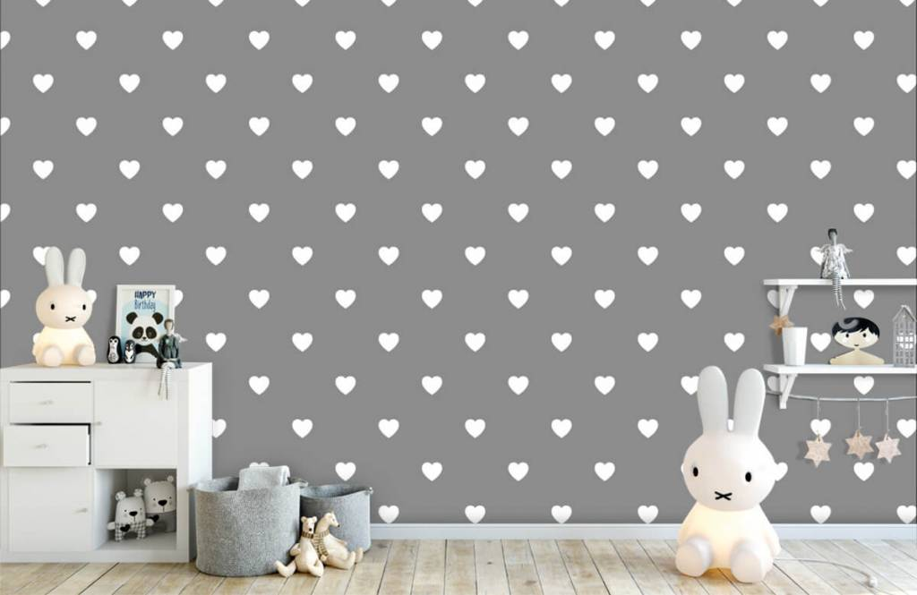 Baby wallpaper - Small white hearts - Baby room 5