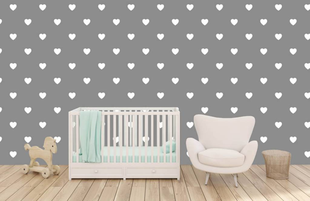 Baby wallpaper - Small white hearts - Baby room 6
