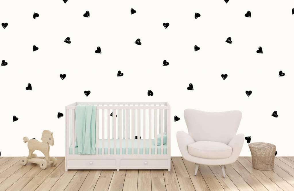 Children's wallpaper - Small black hearts - Children's room 1