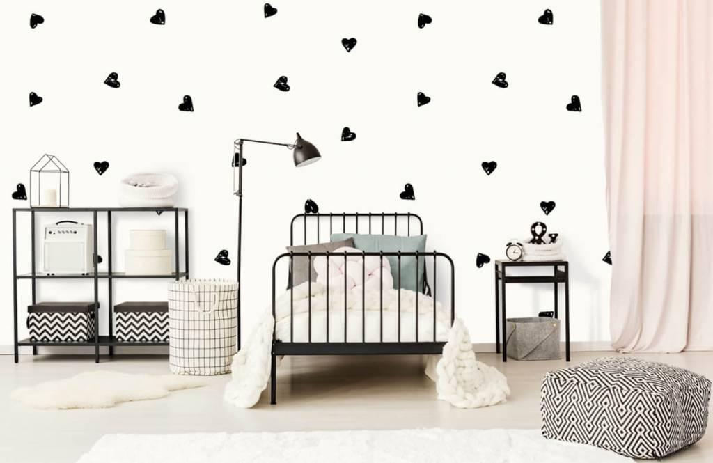 Children's wallpaper - Small black hearts - Children's room 2