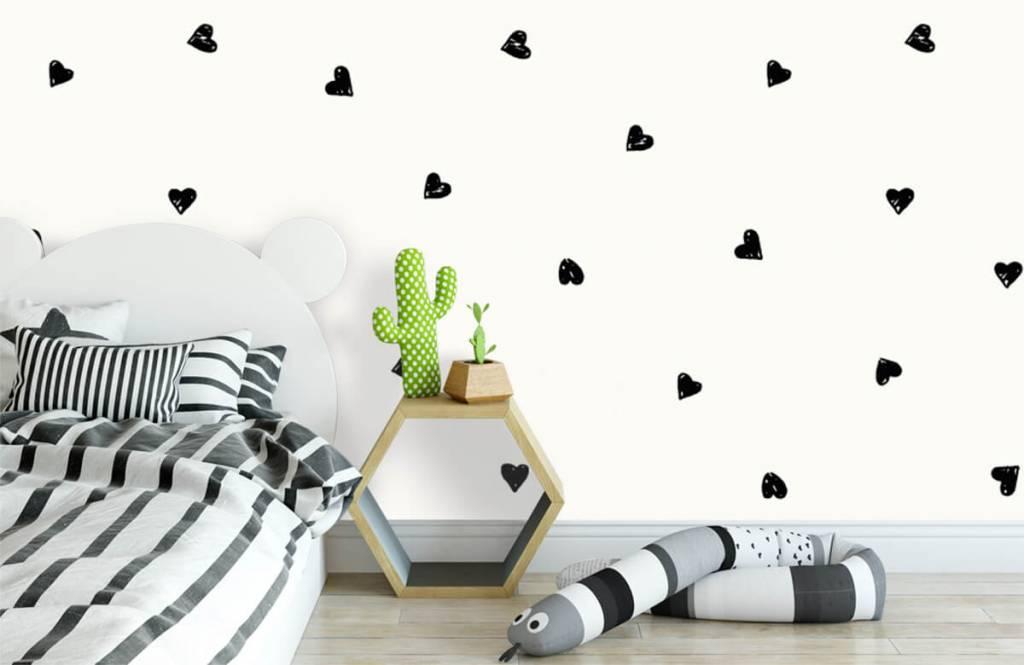 Children's wallpaper - Small black hearts - Children's room 3