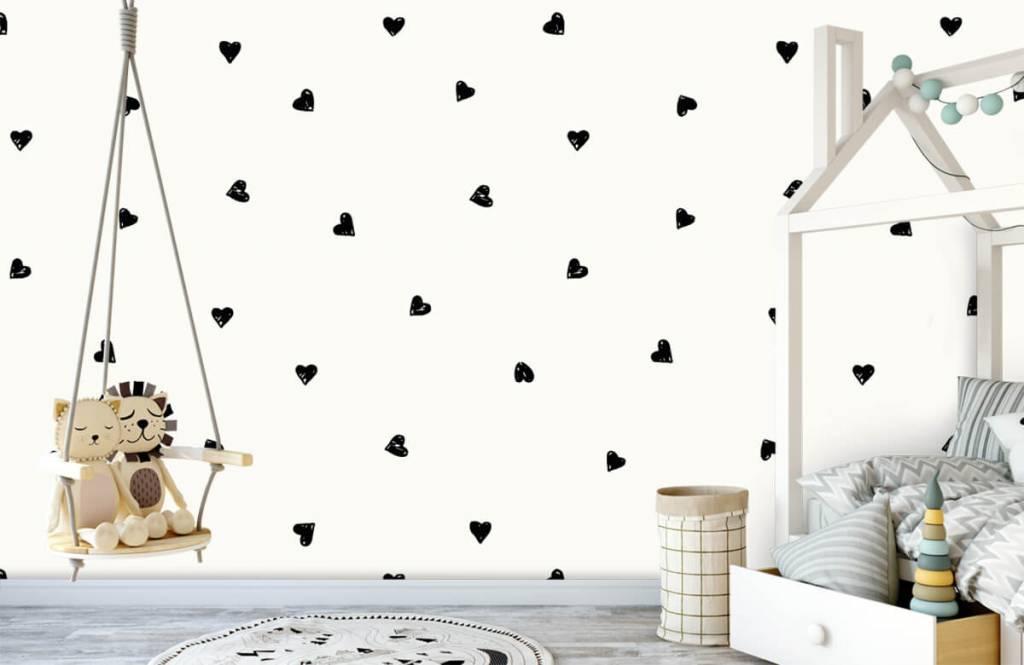 Children's wallpaper - Small black hearts - Children's room 4