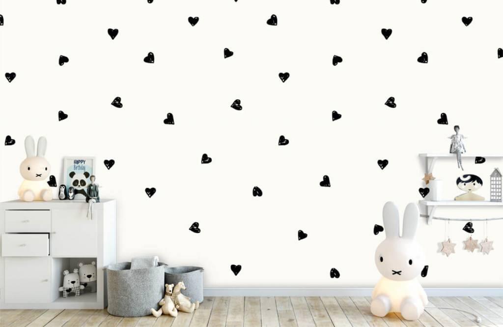 Children's wallpaper - Small black hearts - Children's room 5