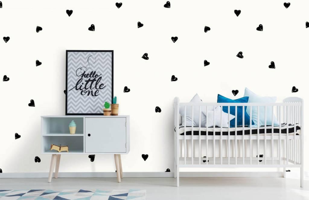 Children's wallpaper - Small black hearts - Children's room 6