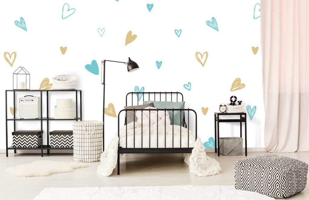 Other - Mint and golden hearts - Children's room 2