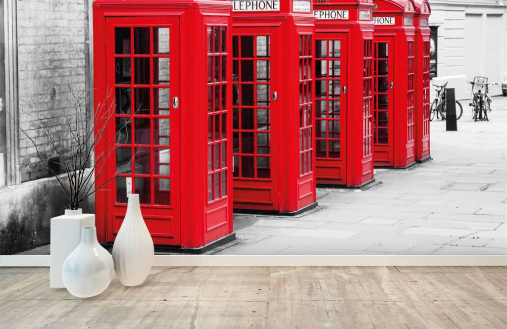 Black and white wallpaper - Telephone booths - Teenage room 1