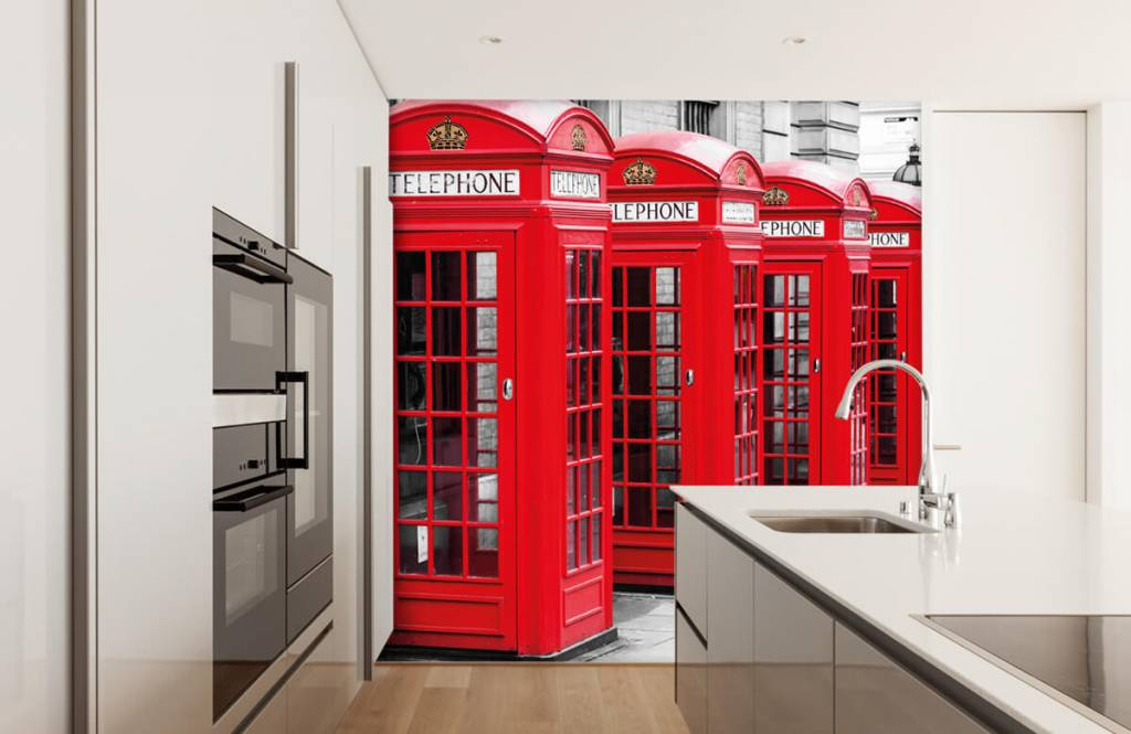 Black and white wallpaper - Telephone booths - Teenage room 2
