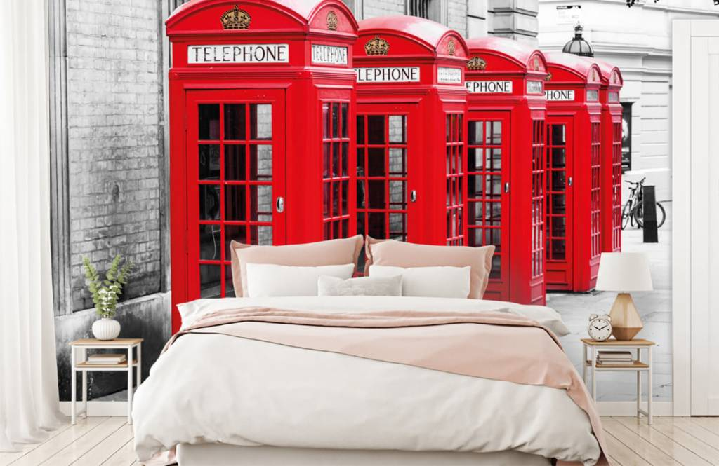 Black and white wallpaper - Telephone booths - Teenage room 3
