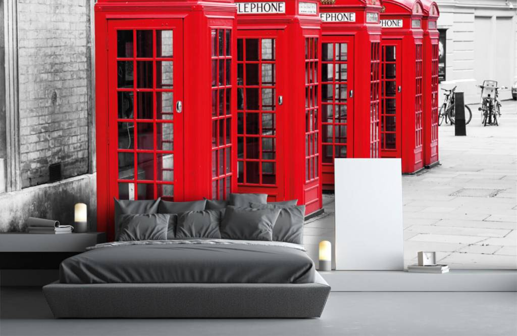Black and white wallpaper - Telephone booths - Teenage room 4
