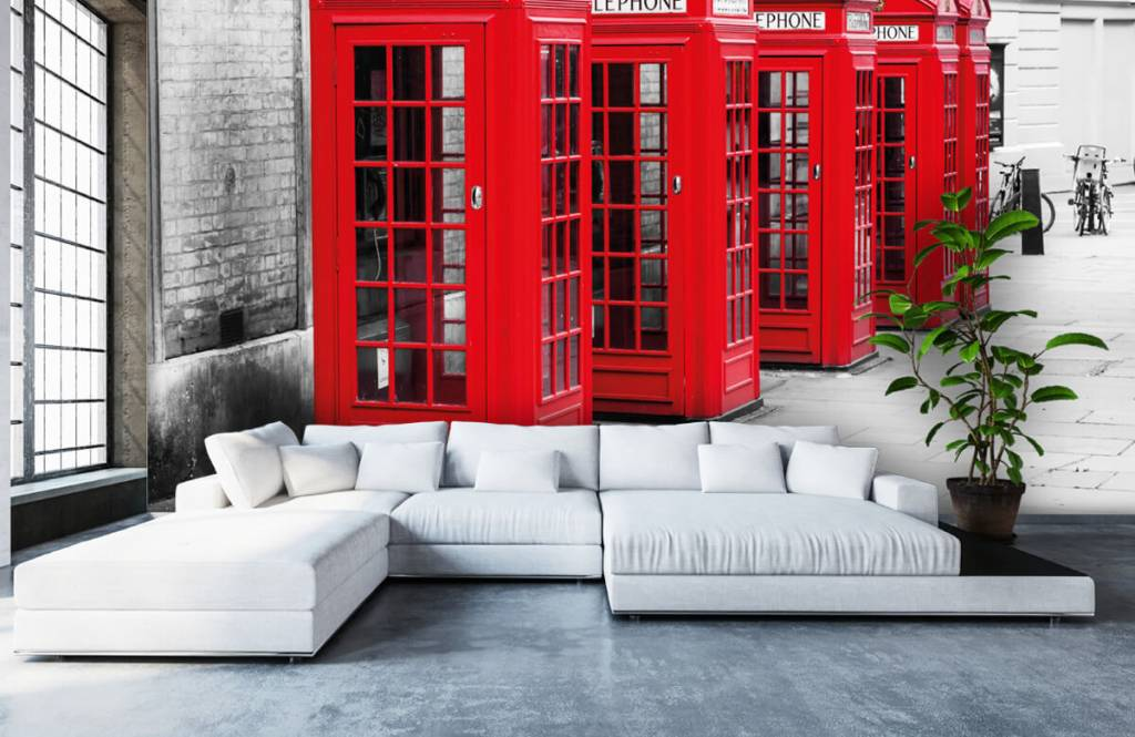 Black and white wallpaper - Telephone booths - Teenage room 6