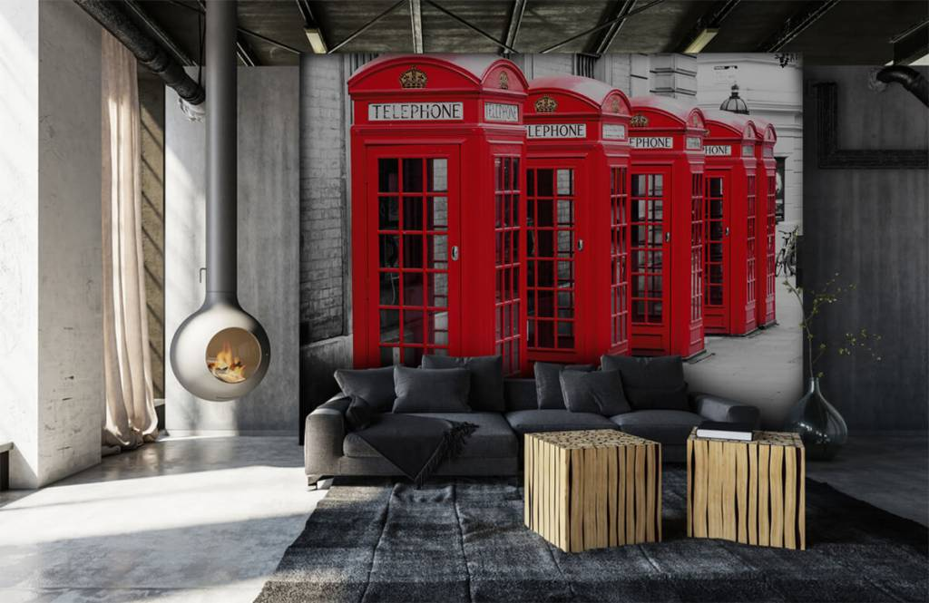 Black and white wallpaper - Telephone booths - Teenage room 7
