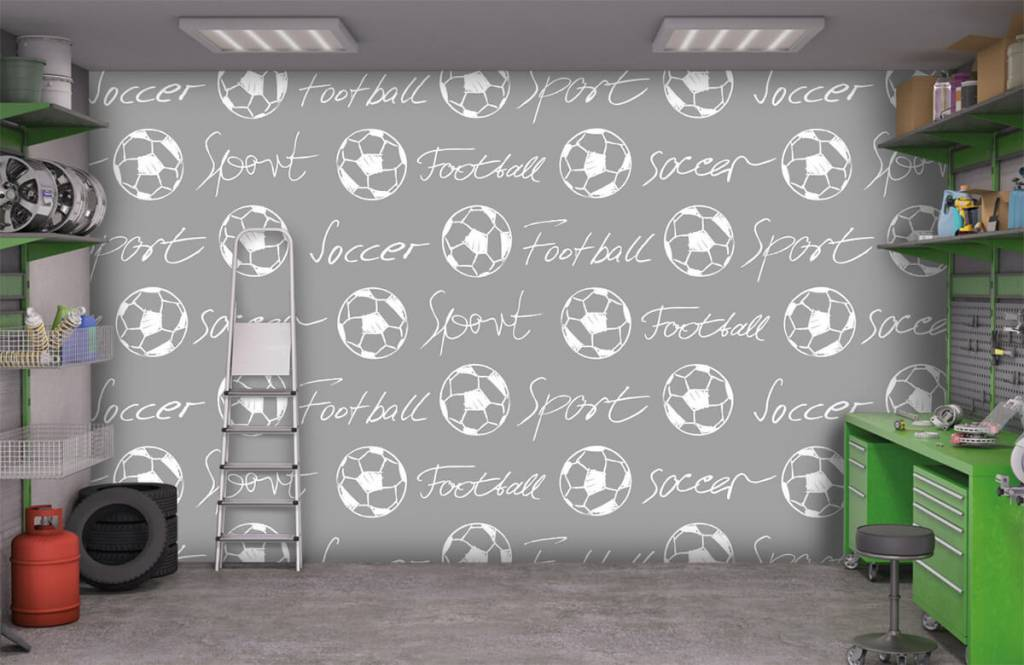 Soccer wallpaper - Footballs and text - Children's room 1