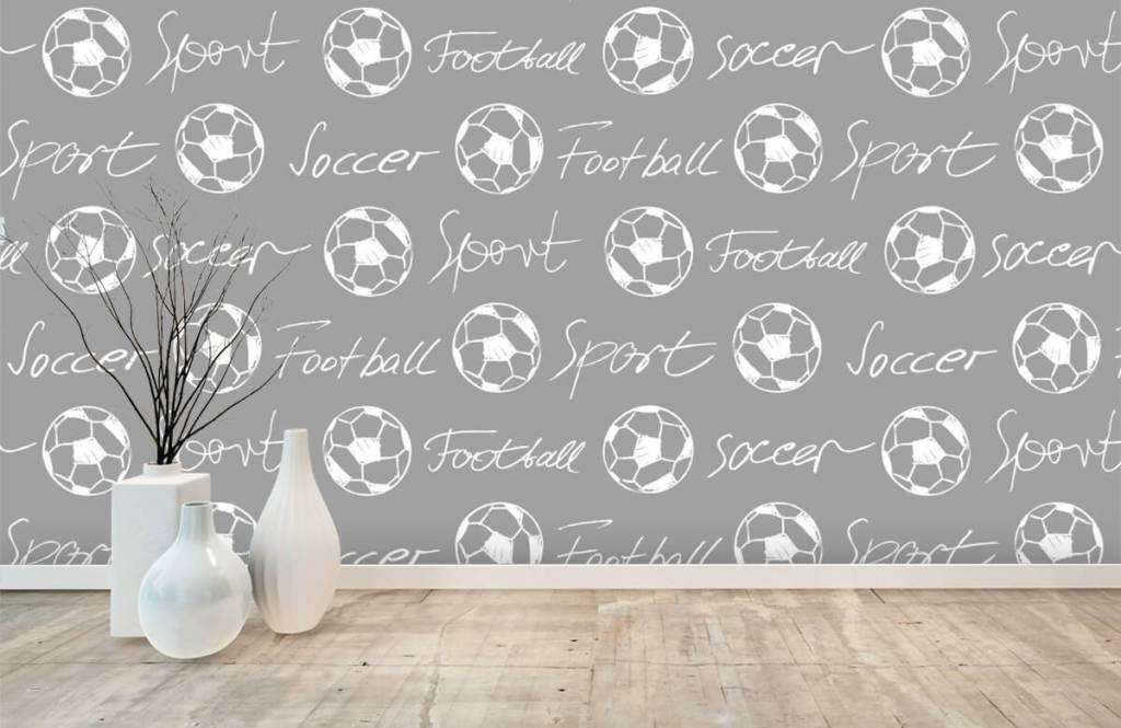 Soccer wallpaper - Footballs and text - Children's room 2