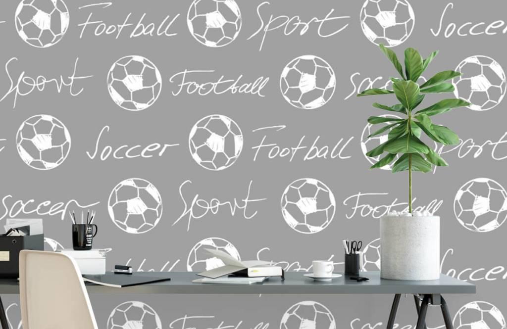 Soccer wallpaper - Footballs and text - Children's room 3