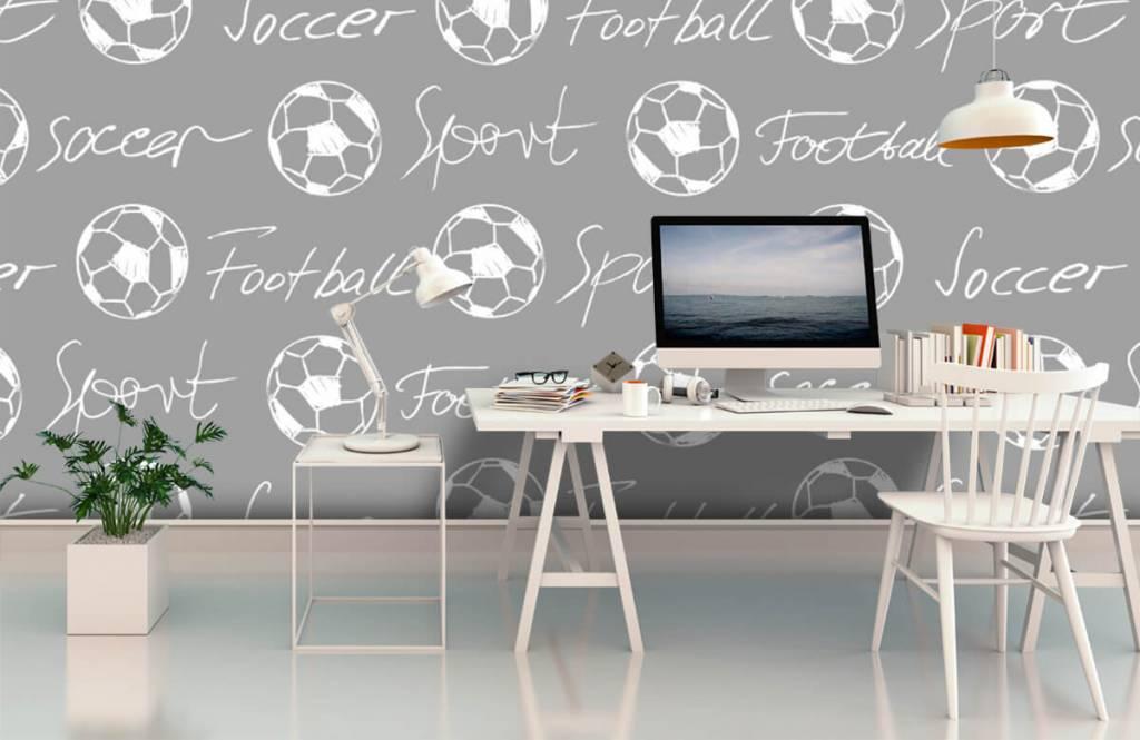 Soccer wallpaper - Footballs and text - Children's room 4