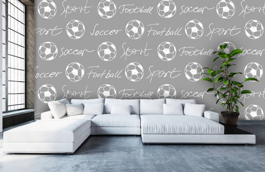 Soccer wallpaper - Footballs and text - Children's room 5