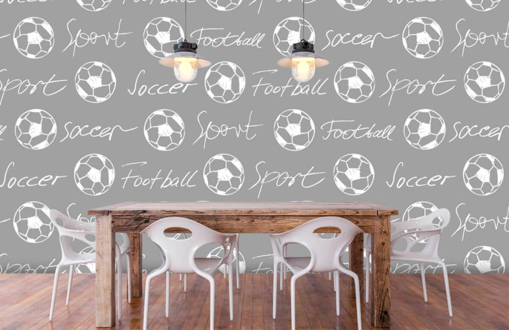 Soccer wallpaper - Footballs and text - Children's room 6