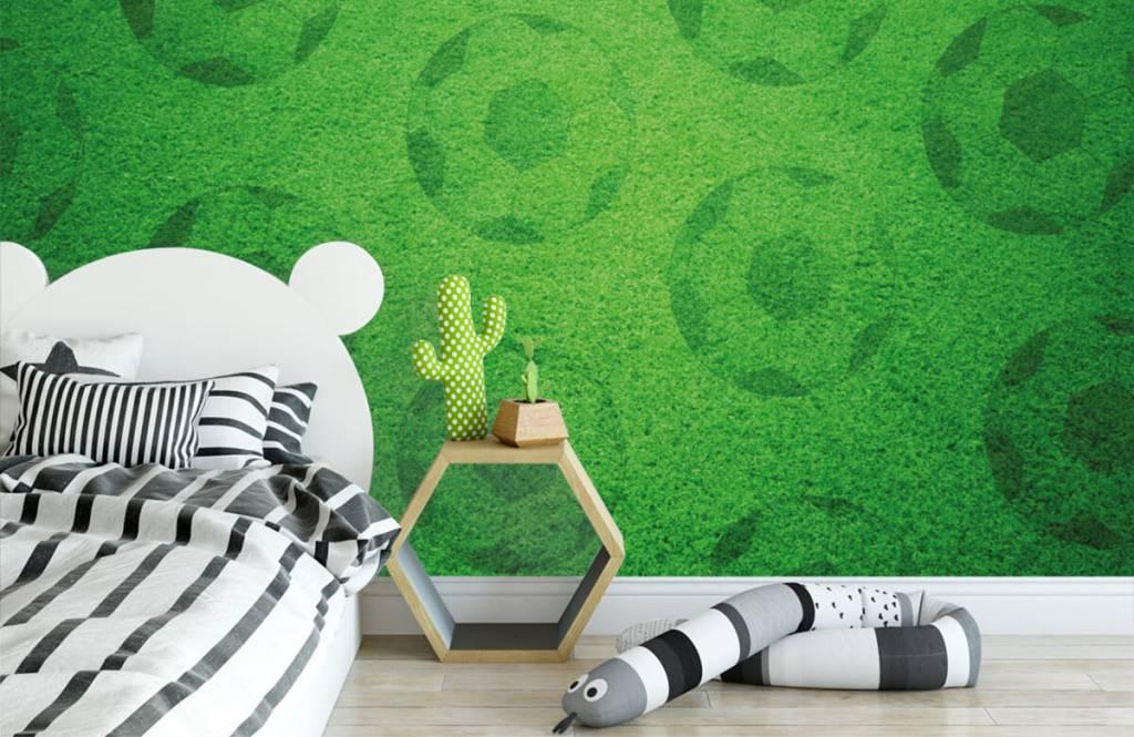 Soccer wallpaper - Playing soccer on grass - Children's room 2