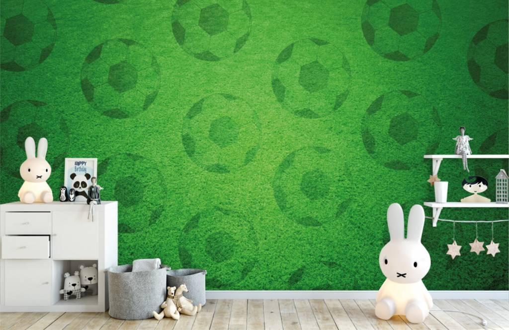 Soccer wallpaper - Playing soccer on grass - Children's room 4
