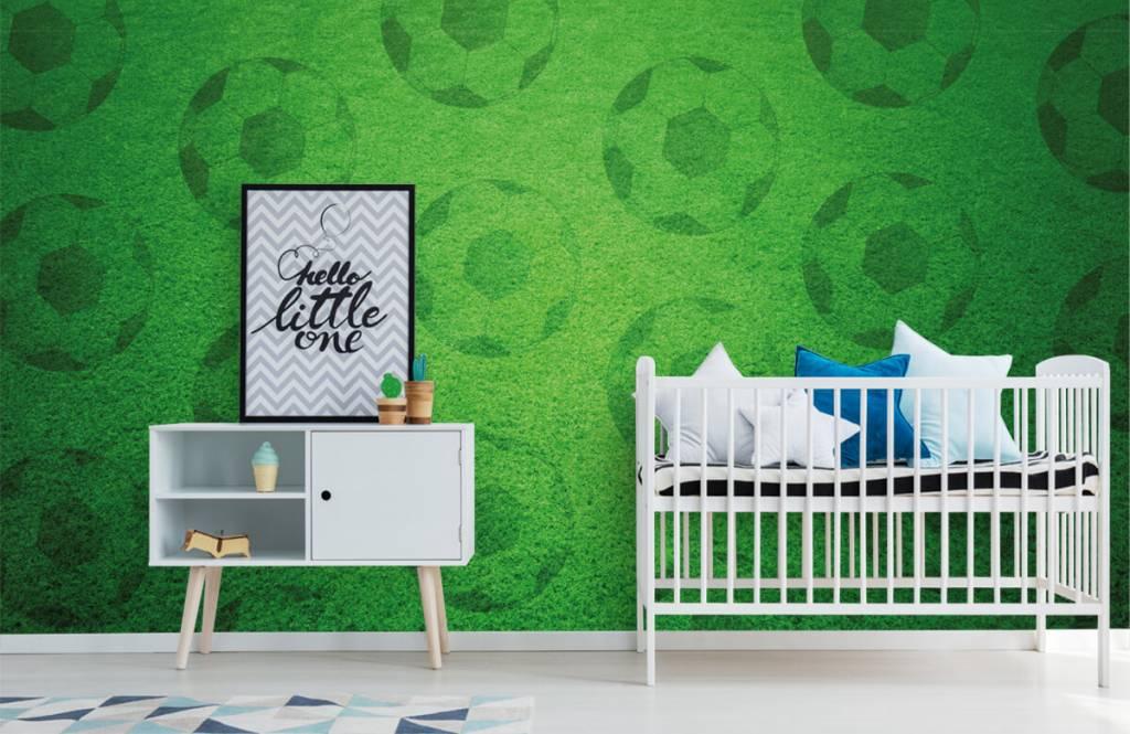 Soccer wallpaper - Playing soccer on grass - Children's room 6