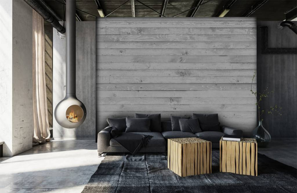 Wooden wallpaper - Whitewash wood horizontal - Hallway 7