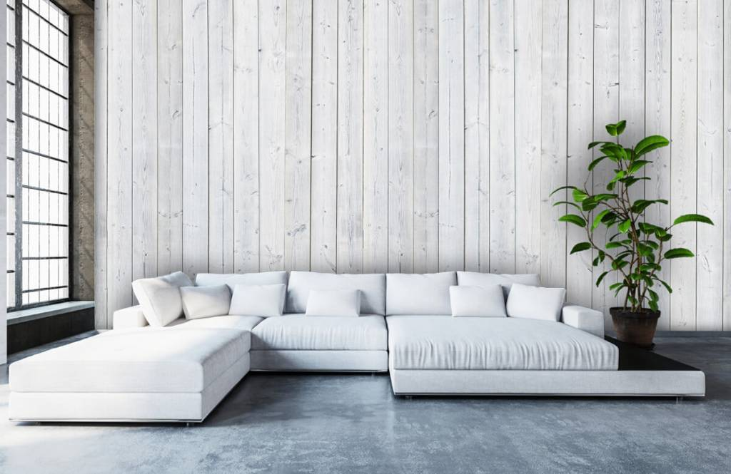 Wooden wallpaper - Whitewash wood vertical - Bedroom 5