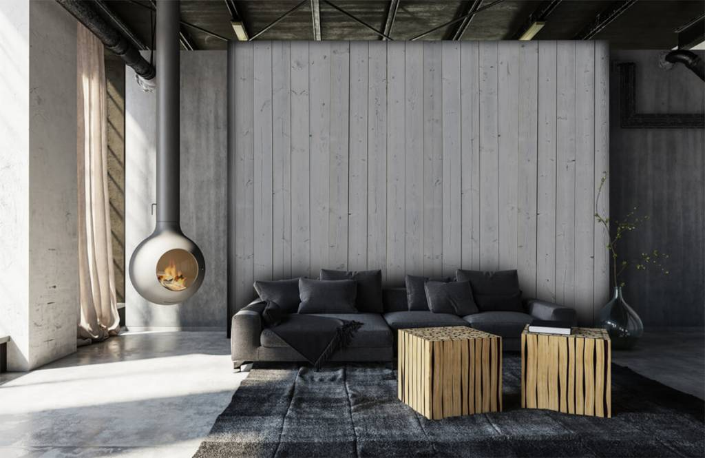 Wooden wallpaper - Whitewash wood vertical - Bedroom 6