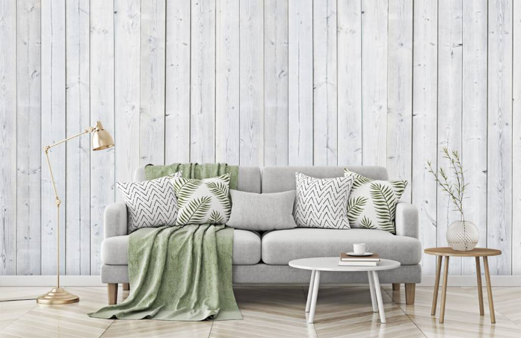 Wooden wallpaper - Whitewash wood vertical - Bedroom 7