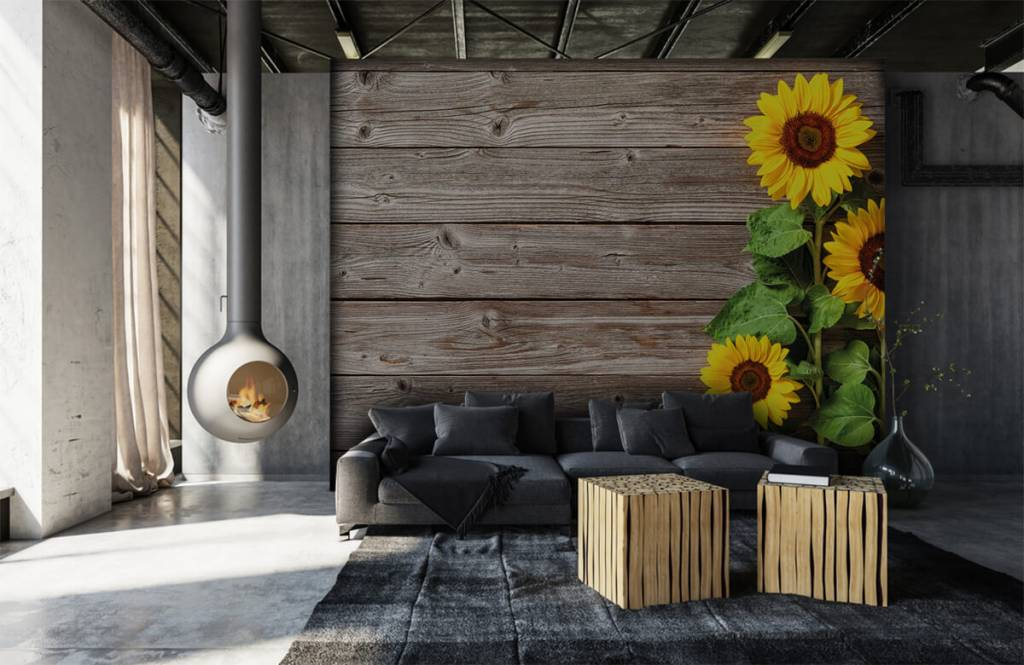 Sunflower - Sunflowers and wood - Garage 6