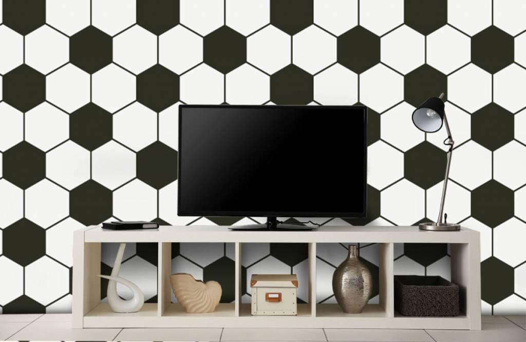 Soccer wallpaper - Black and white geometric polygons - Children's room 1