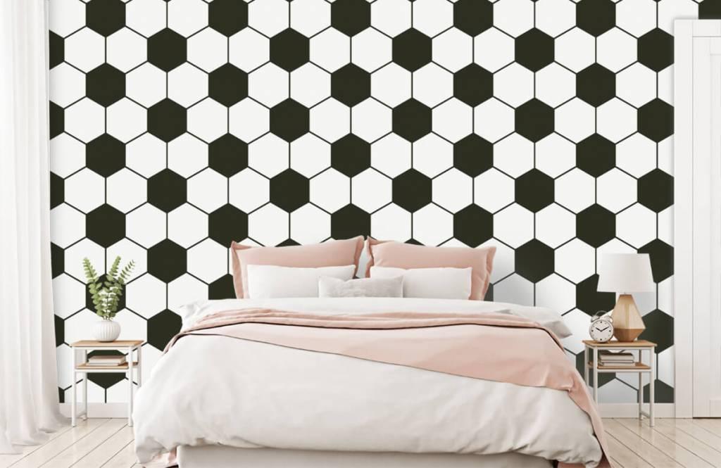 Soccer wallpaper - Black and white geometric polygons - Children's room 2