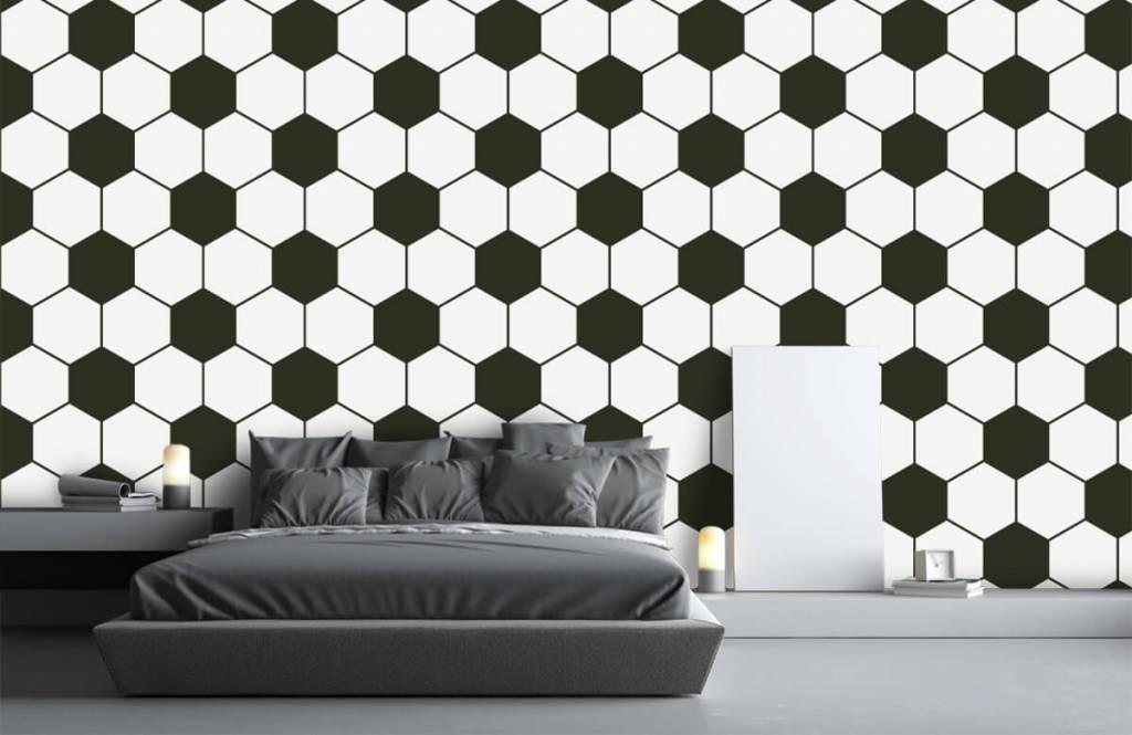 Soccer wallpaper - Black and white geometric polygons - Children's room 3
