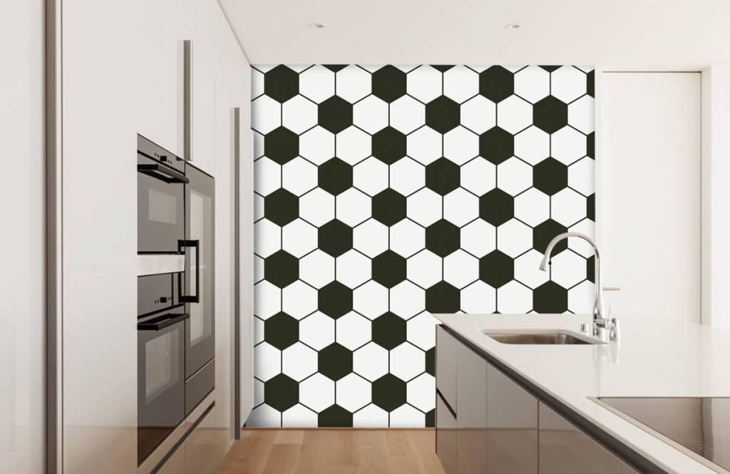 Soccer wallpaper - Black and white geometric polygons - Children's room 4